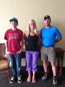Kristin poses with her two yackers after finishing the Pennock Island Challenge in Ketchikan, AK.