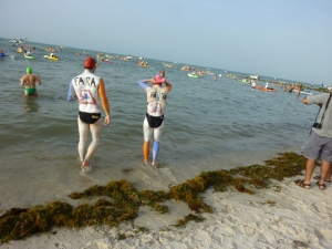 Kristin and Cody wading out for the start of the Key West Swim . . .