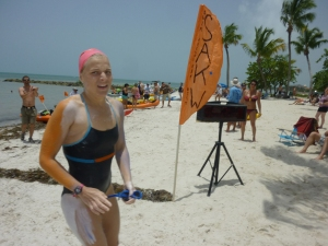 Kristin just after finishing her swim . . .