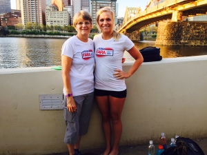 My mom and me rocking the FARA t-shirts before the start!